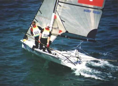 The Swiss 49er Team at the Sydney 2000 Olympics with CST tiller extensions