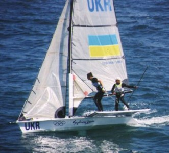 The Ukrainian 49er Team at the Sydney 2000 Olympics with CST tiller extensions